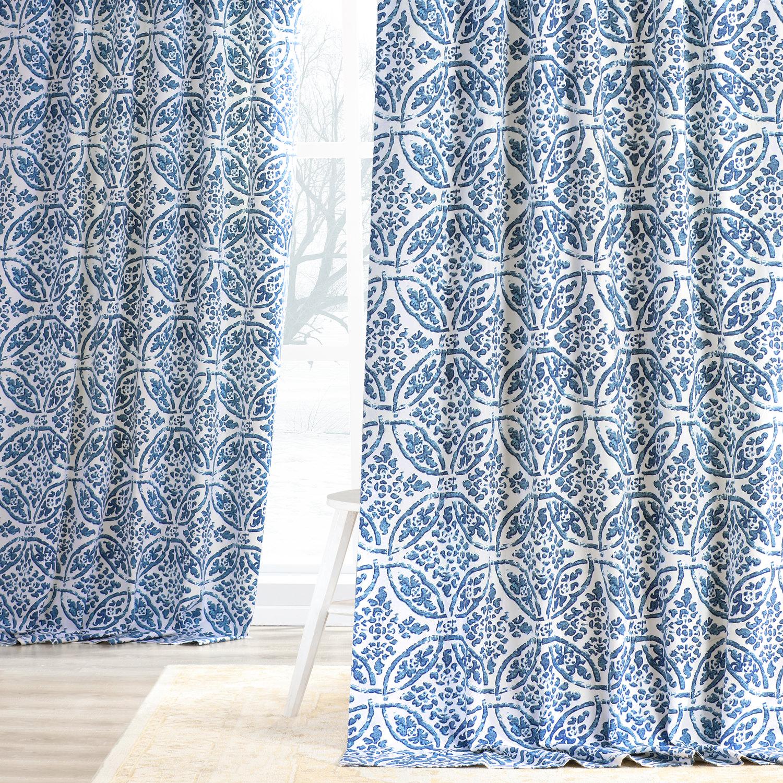 Catalina Blue Printed Cotton Twill Curtain