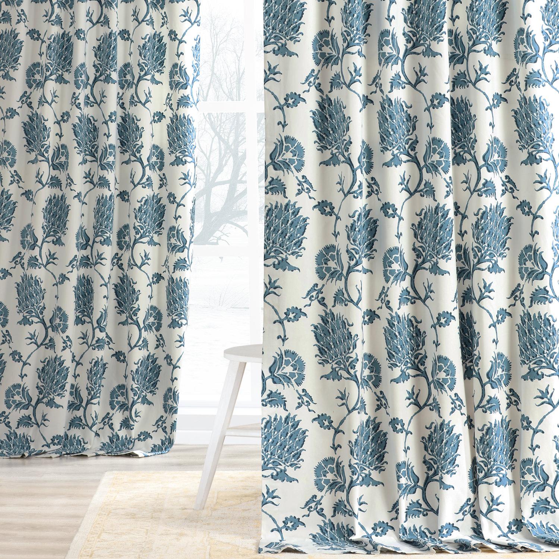 Duchess Blue Printed Cotton Twill Curtain