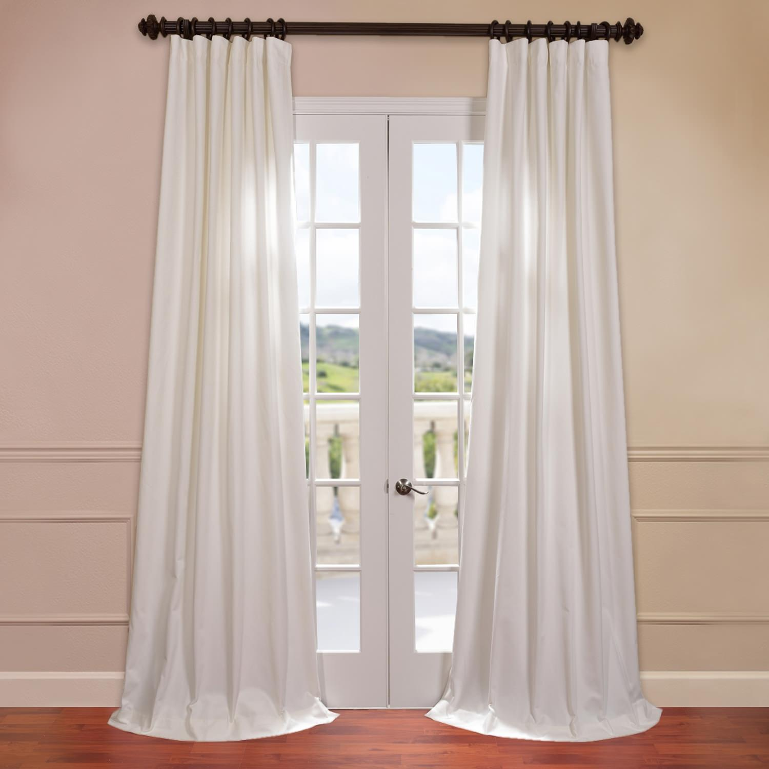 Aged White Cotton Twill Curtain