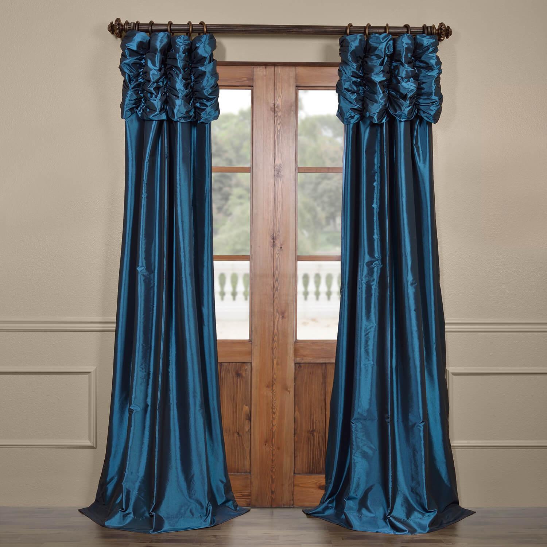 Azul Ruched Faux Solid Taffeta Curtain