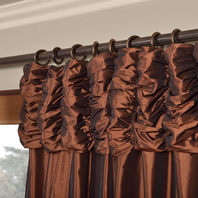 Rum Raisin Ruched Faux Solid Taffeta Curtain