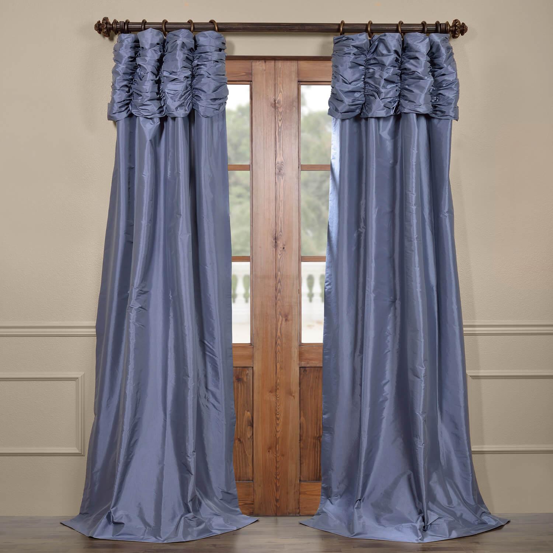 Wisteria Blue Ruched Faux Solid Taffeta Curtain