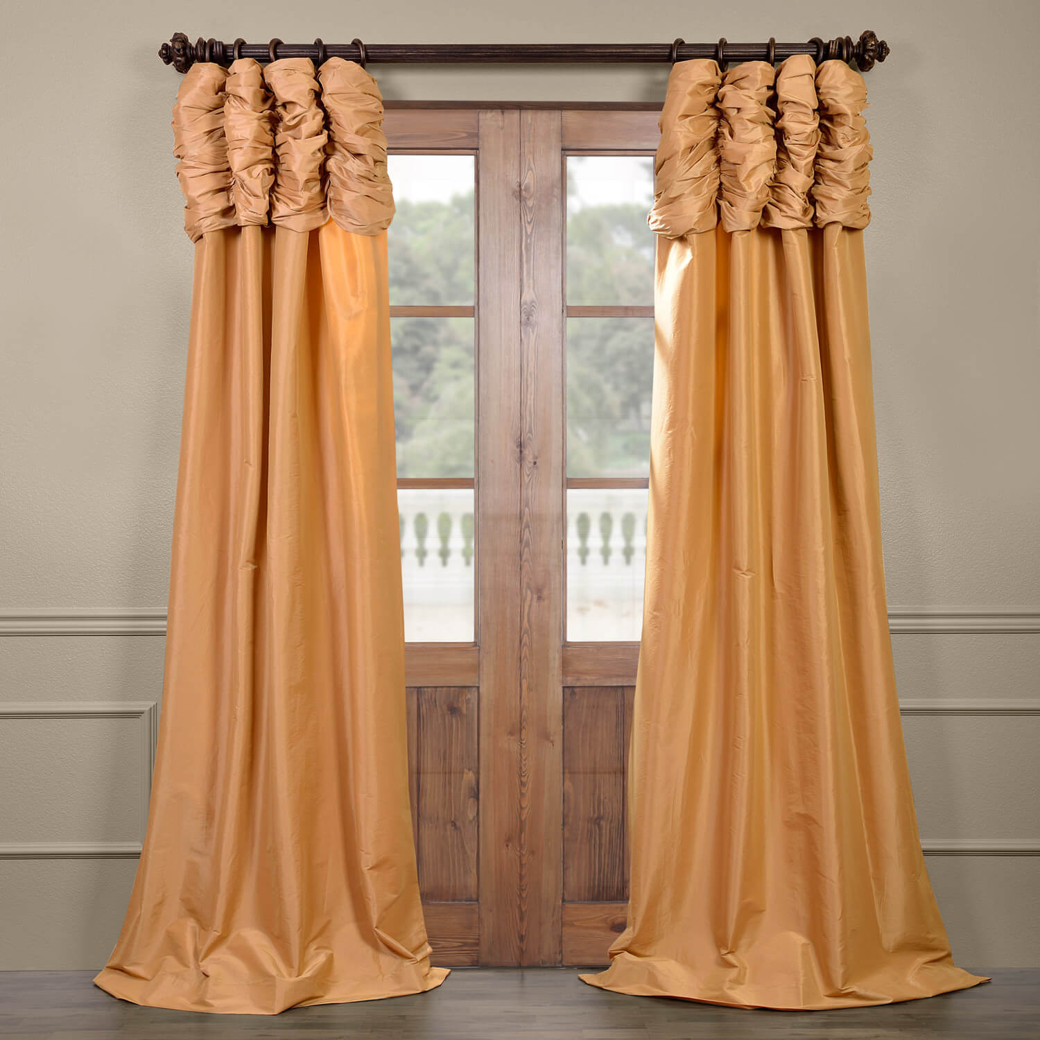 Honey Ruched Faux Solid Taffeta Curtain