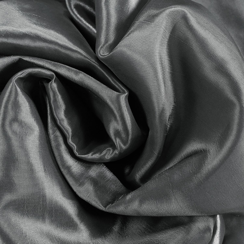 Burnished Hematite Blackout Extra Wide Faux Silk Taffeta Curtain