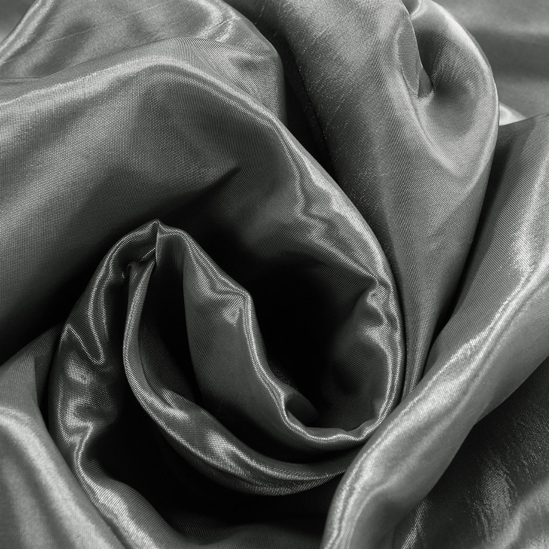 Polished Silver Blackout Extra Wide Faux Silk Taffeta Curtain