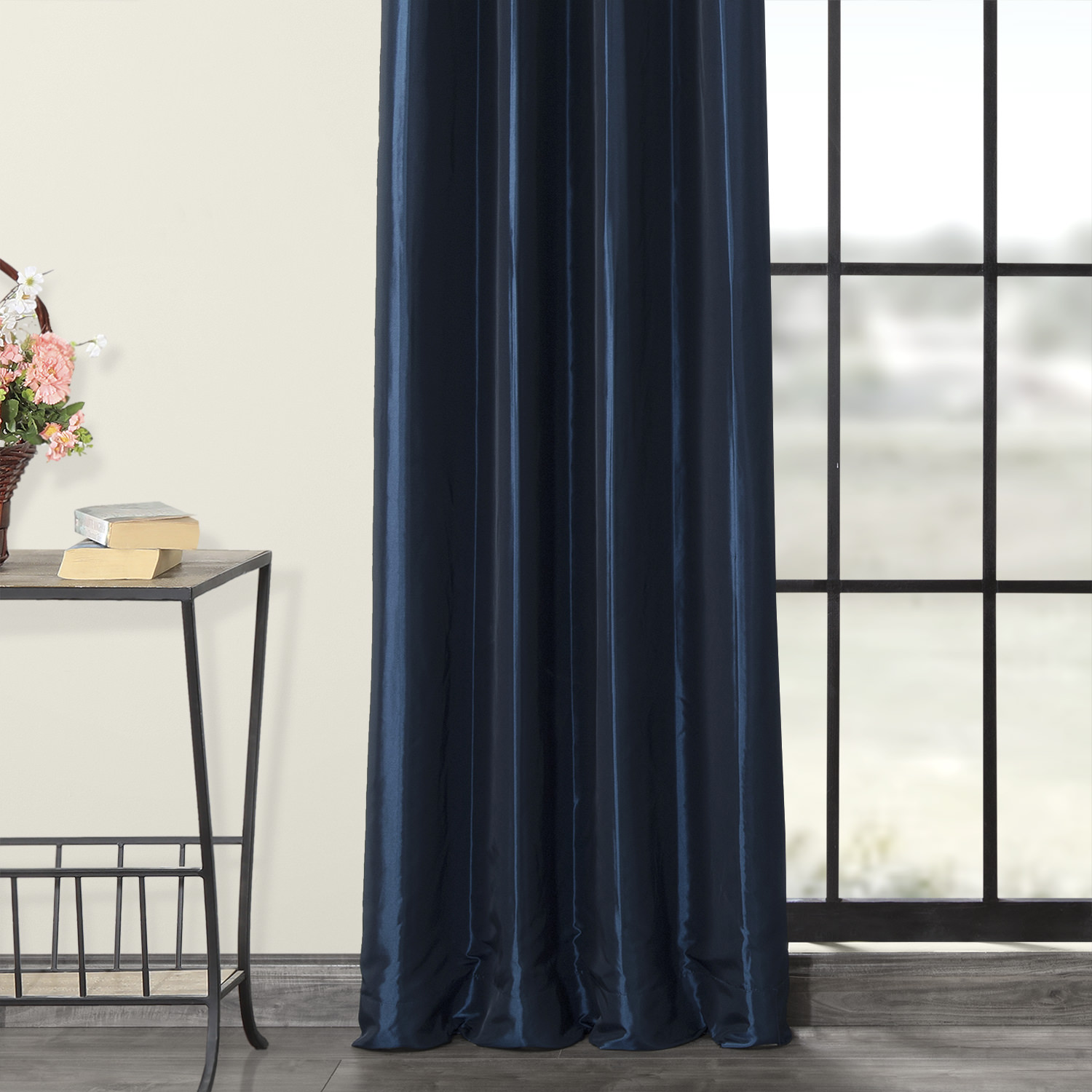 Navy Blue Grommet Blackout Faux Silk Taffeta Curtain
