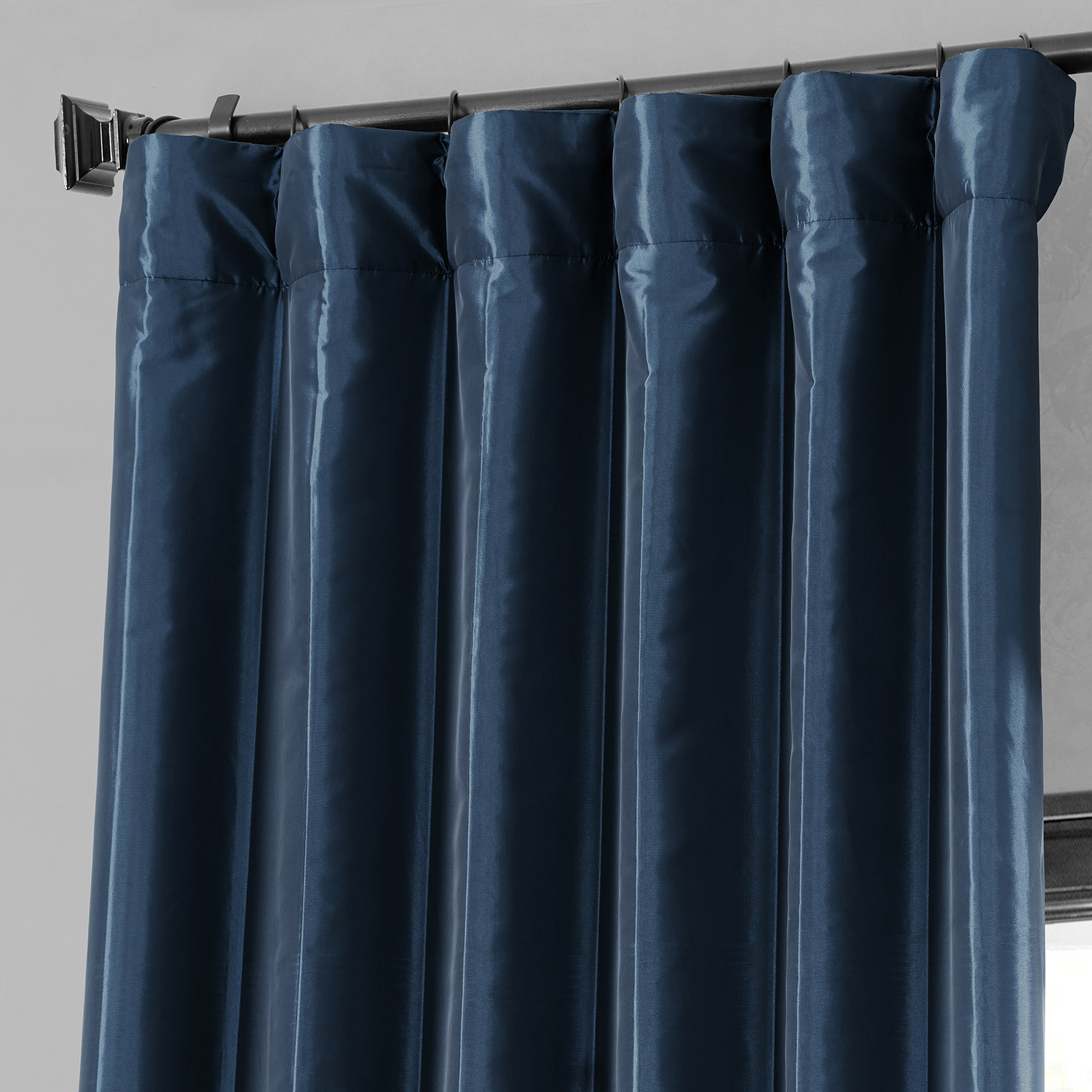 Navy Blue Blackout Faux Silk Taffeta Curtains Drapes