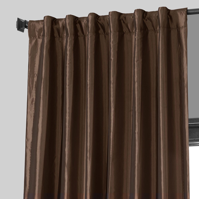 Copper Brown Blackout Faux Silk Taffeta Curtain Drapes