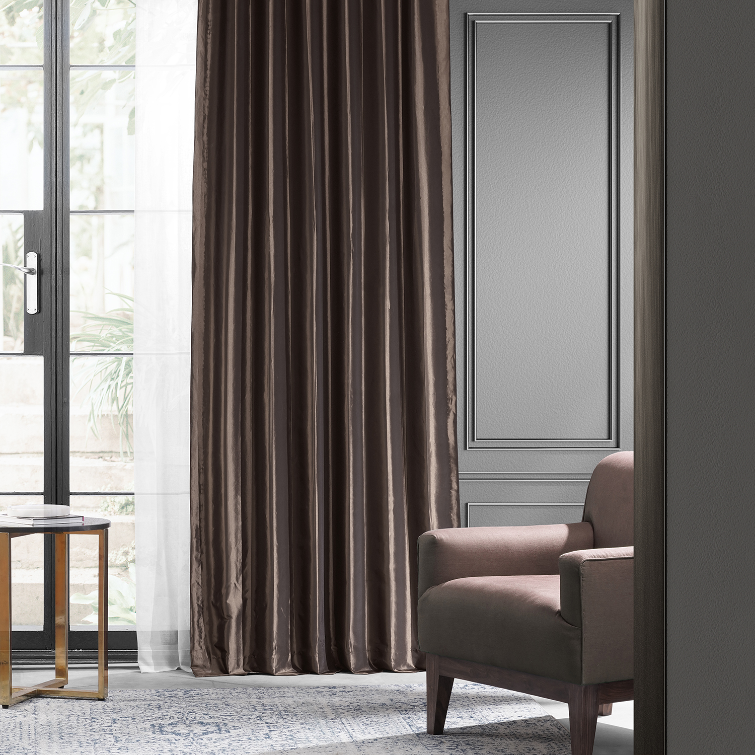 Mushroom Blackout Faux Silk Taffeta Curtains Drapes