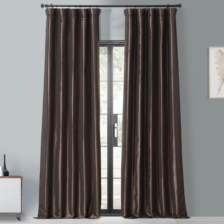 Mushroom Blackout Faux Silk Taffeta Curtain