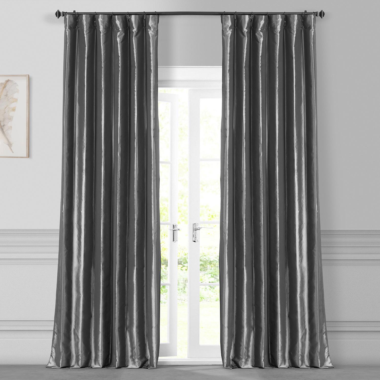 Graphite Faux Silk Taffeta Curtain