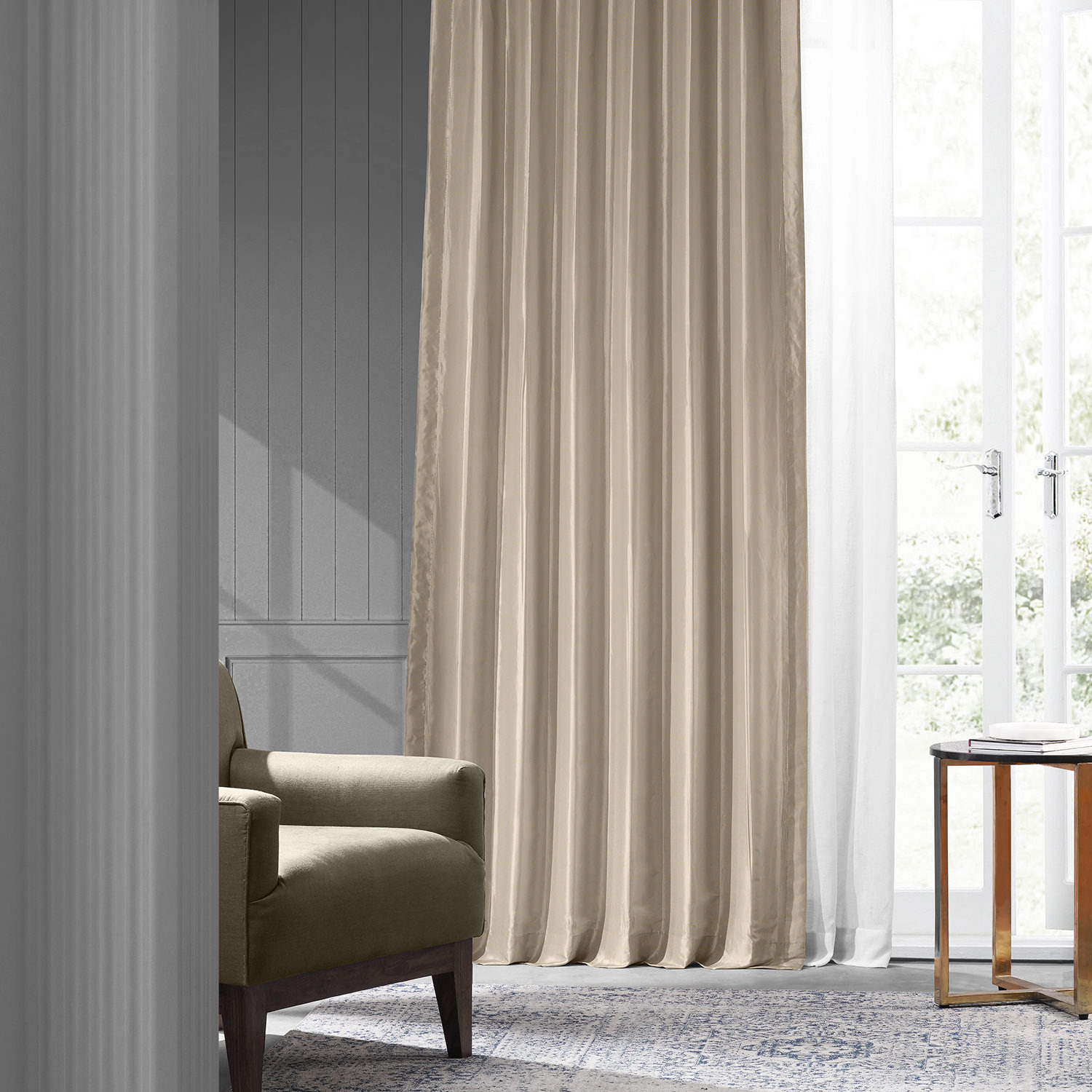 Antique Beige Faux Silk Taffeta Curtain