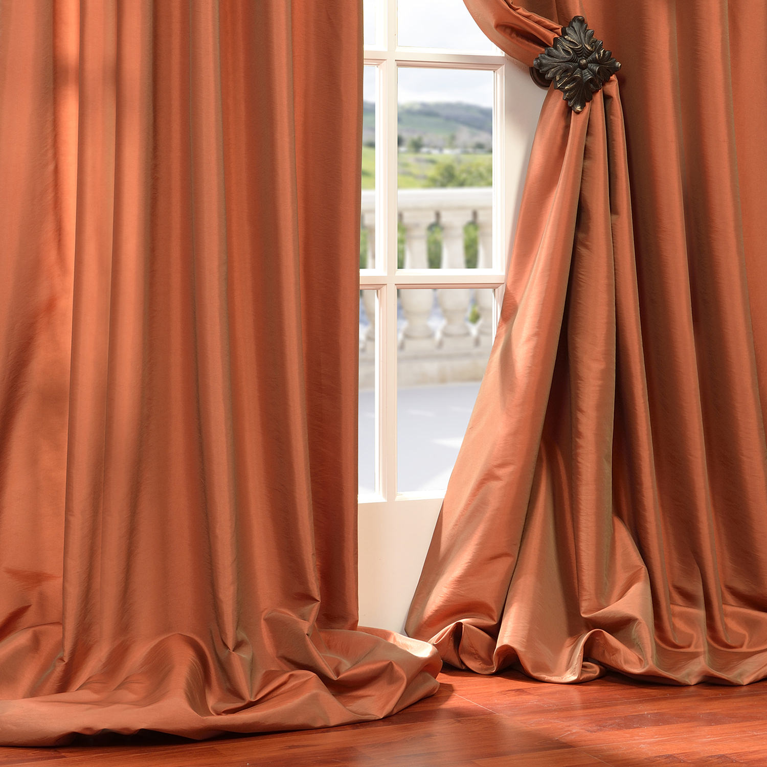 Buy Harvest Orange Faux Silk Taffeta Curtains Drapes