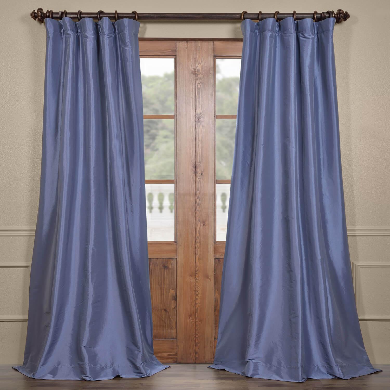 Wisteria Blue Faux Silk Taffeta Curtain