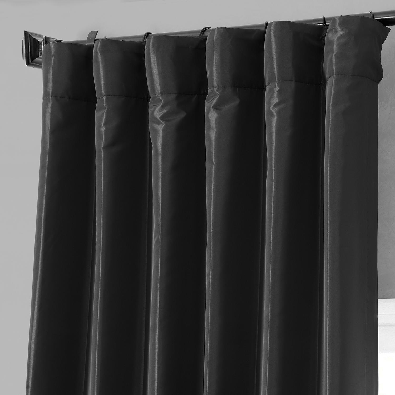 Buy Jet Black Faux Silk Taffeta Curtains Drapes