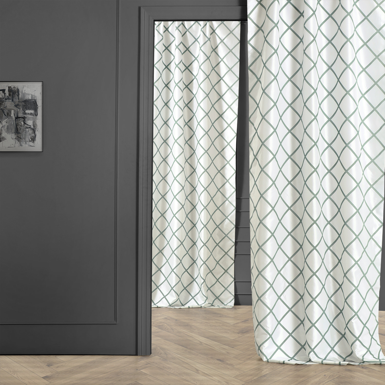 Pavillion Jade Flocked Faux Silk Curtain