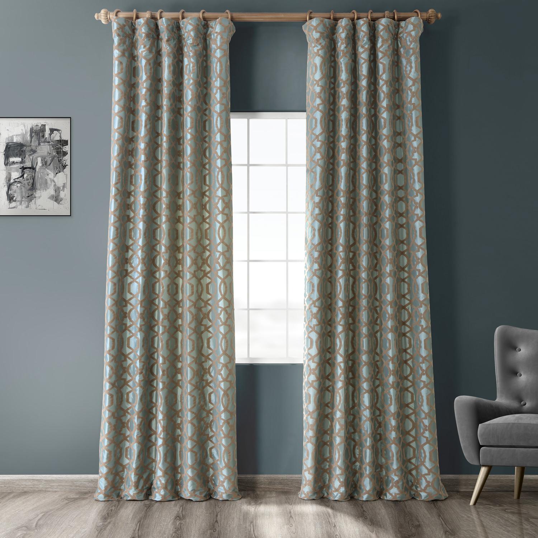 Filigree Blue Flocked Faux Silk Curtain