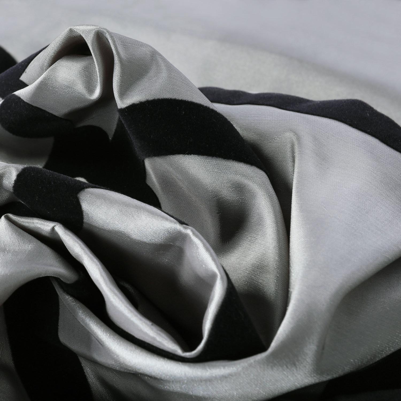 Royal Gate Silver & Black Flocked Faux Silk Swatch