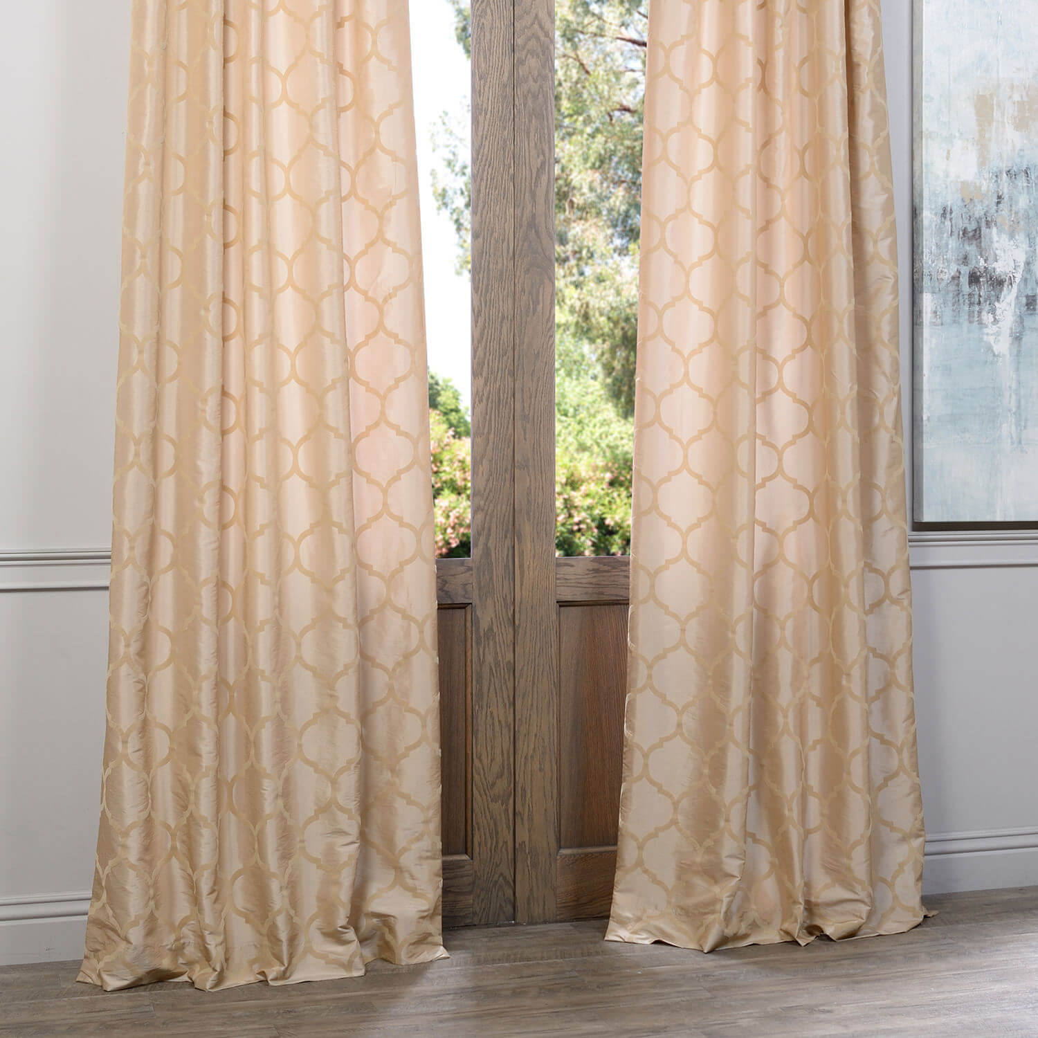 Marakesh Gold Flocked Faux Silk Taffeta Curtain