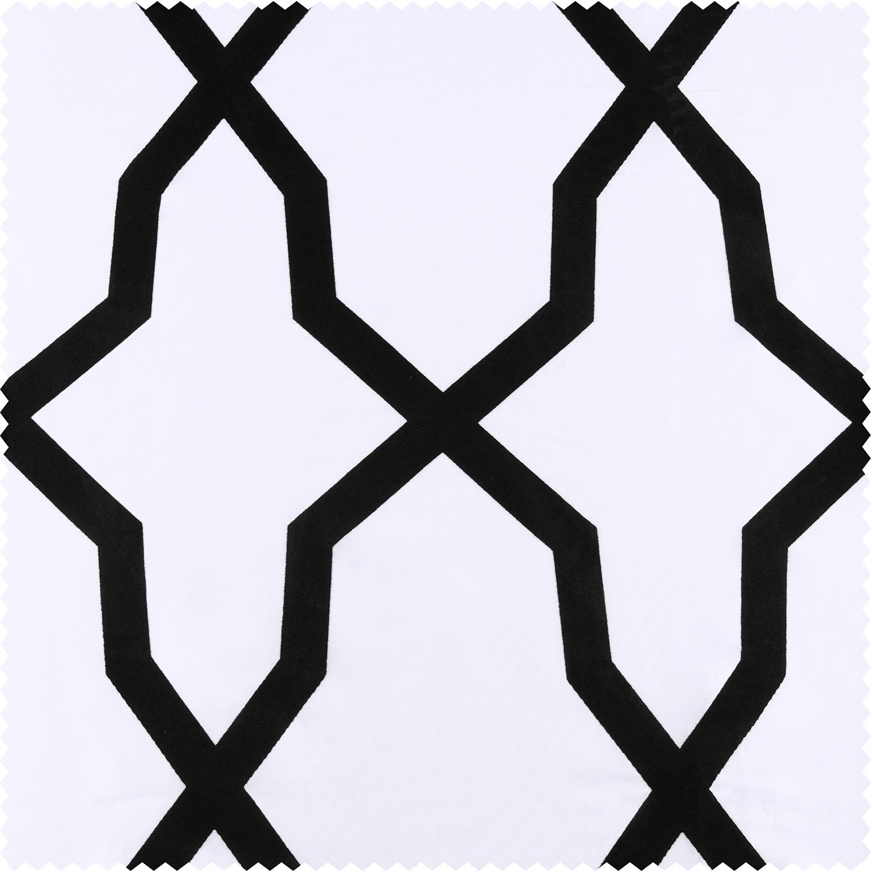 Pinnacle White & Black Flocked Faux Silk Swatch