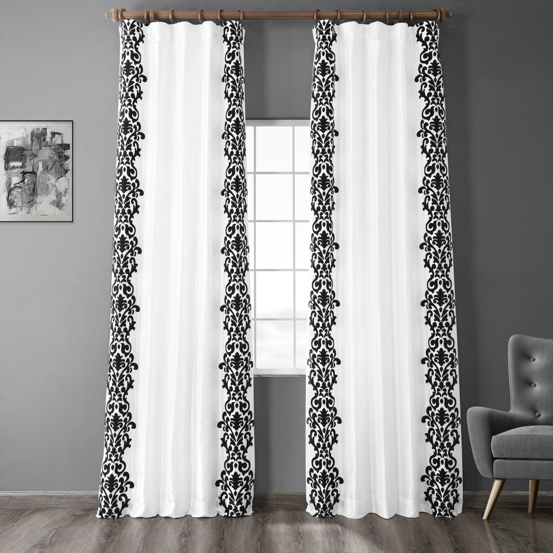 Castle White & Black Flocked Faux Silk Curtain