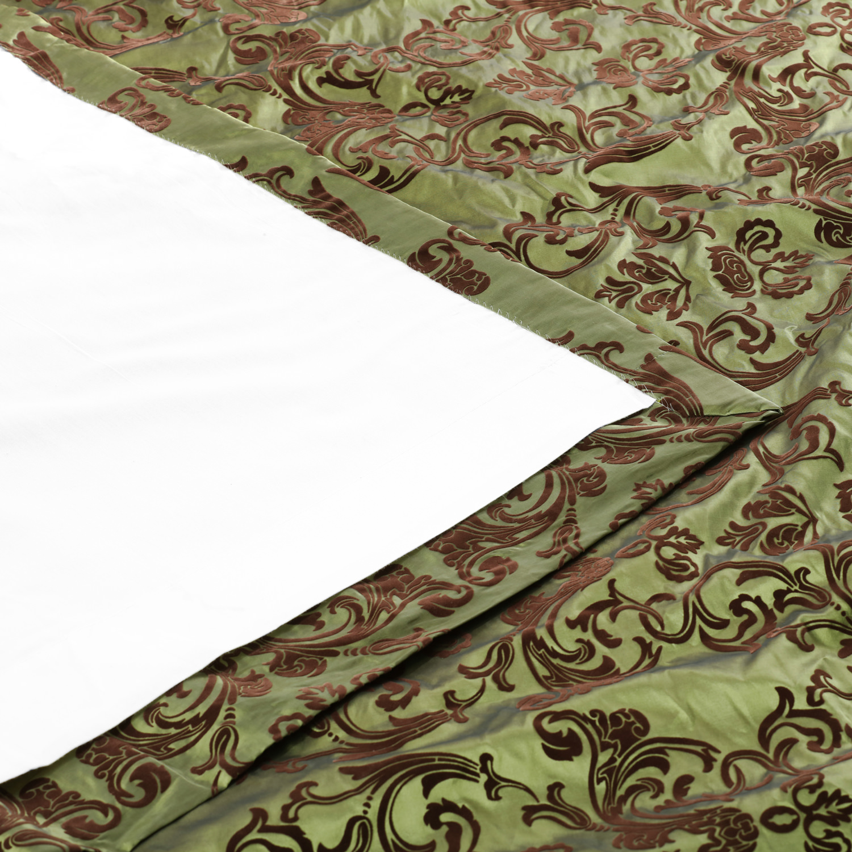 Firenze Fern Flocked Faux Silk Curtain