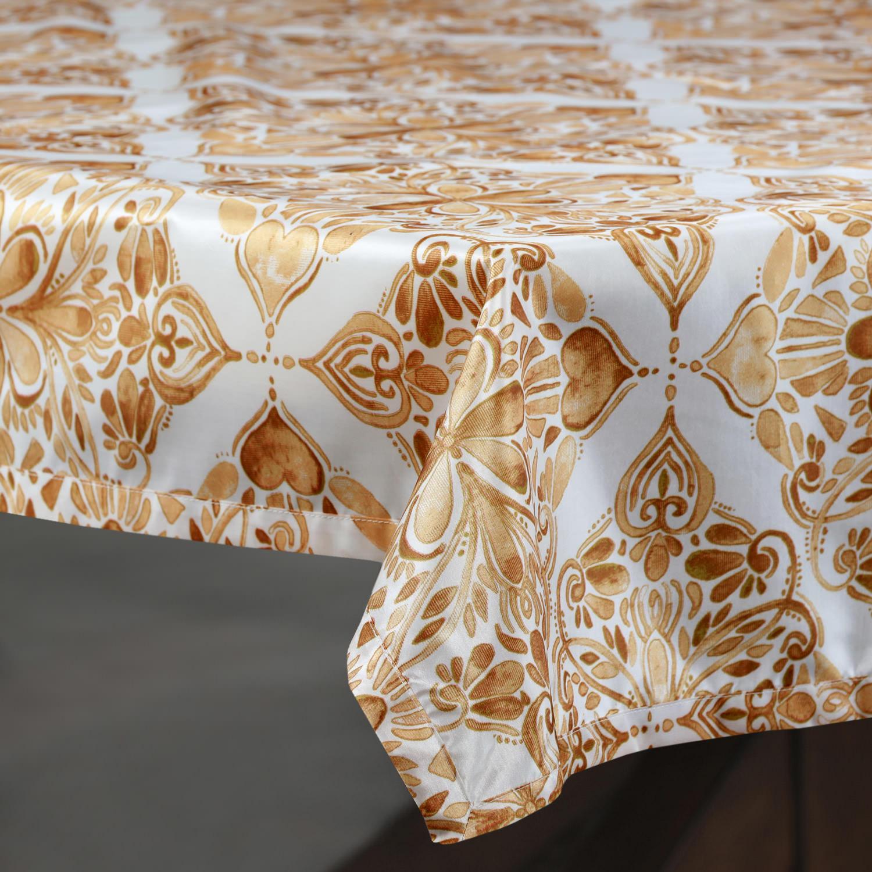 Tiera Gold Designer Faux Silk Taffeta Table Cloth