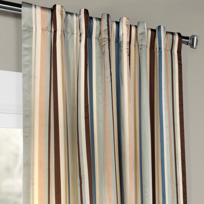 Woodcroft Luxury Faux Silk Stripe Curtain