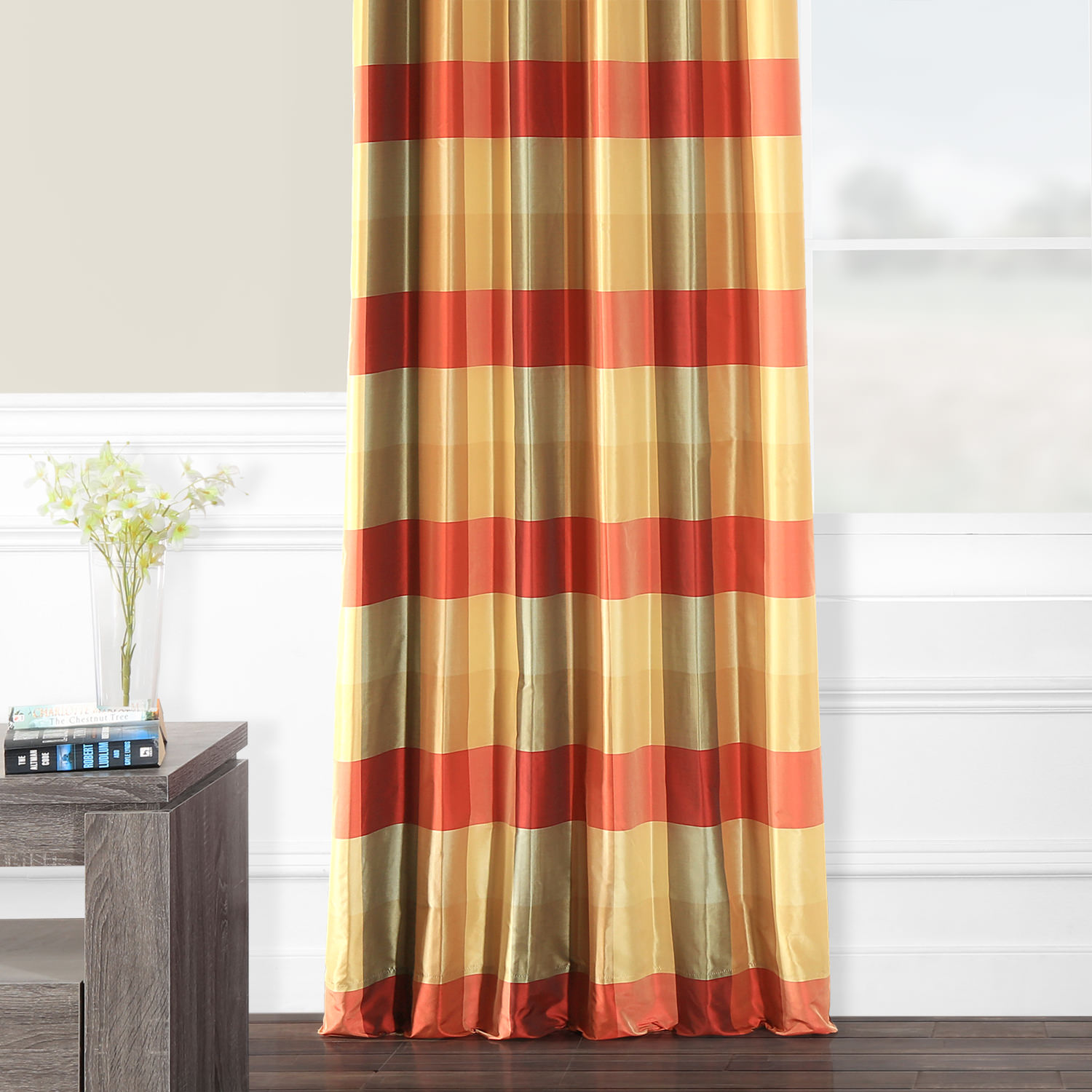 Manor Faux Silk Plaid Curtain