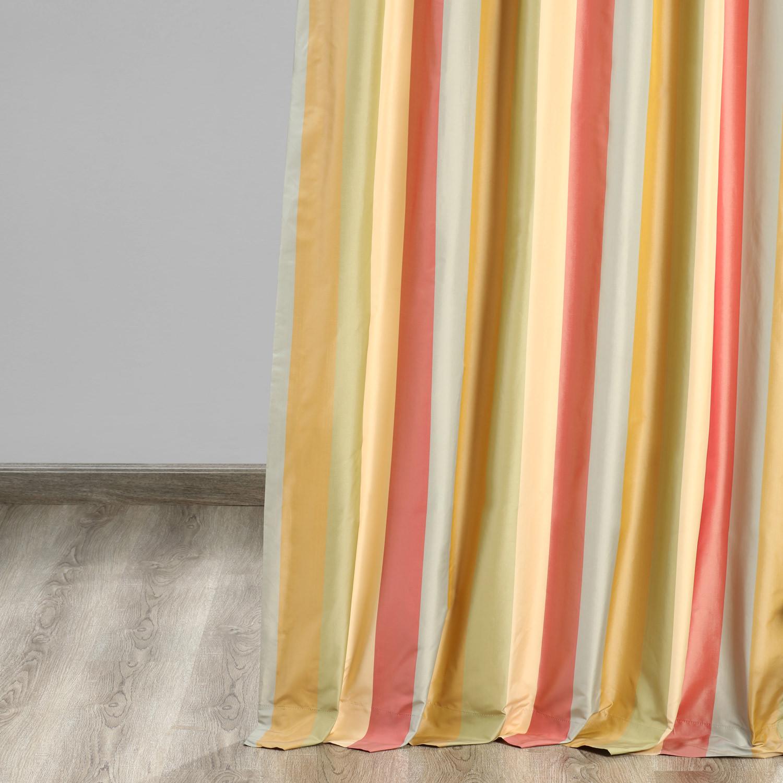 Hapsford Luxury Faux Silk Stripe Curtain