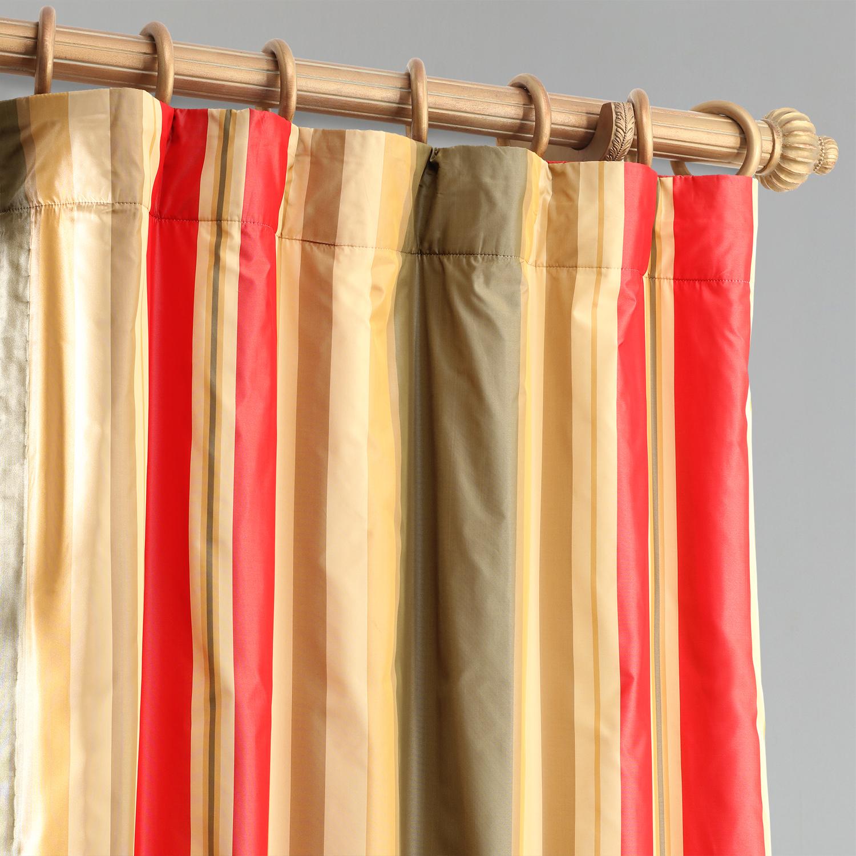 Orleans Faux Silk Taffeta Stripe Curtain