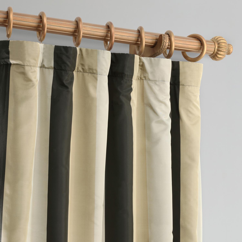 Sake Faux Silk Taffeta Stripe Curtain