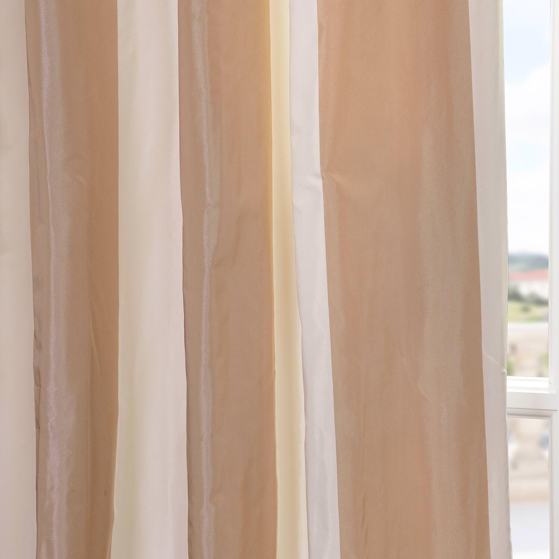 Cappuccino Faux Silk Taffeta Stripe Curtain