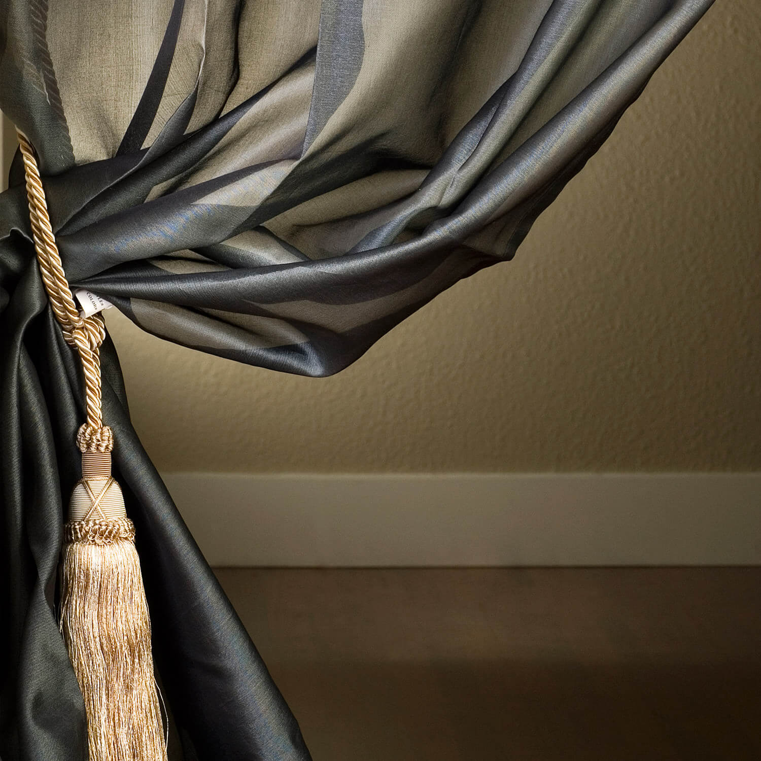 Grey Silk Organza Sheer Curtain