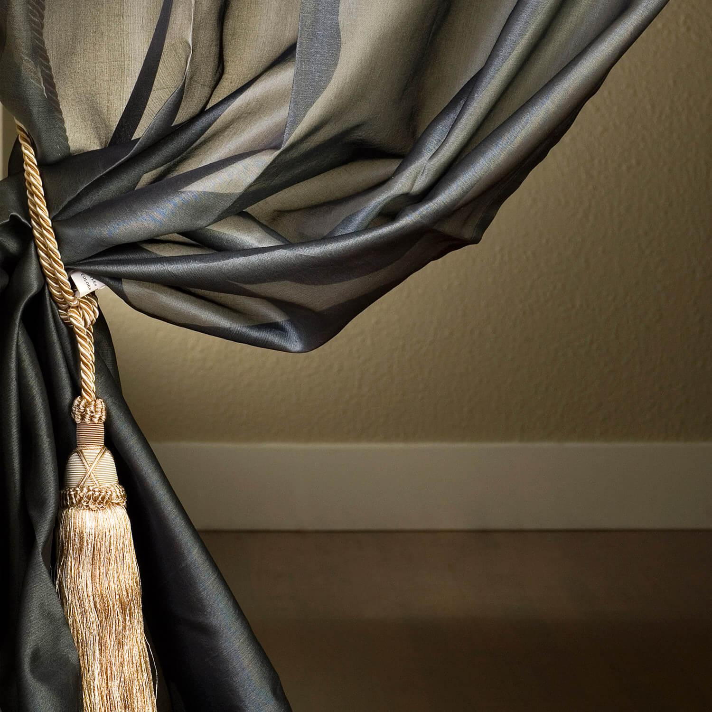Grey Silk Organza Sheer Curtain