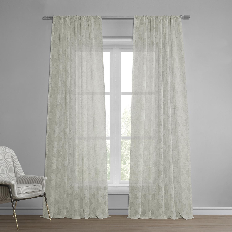Calais Tile Patterned Faux Linen Sheer Curtain