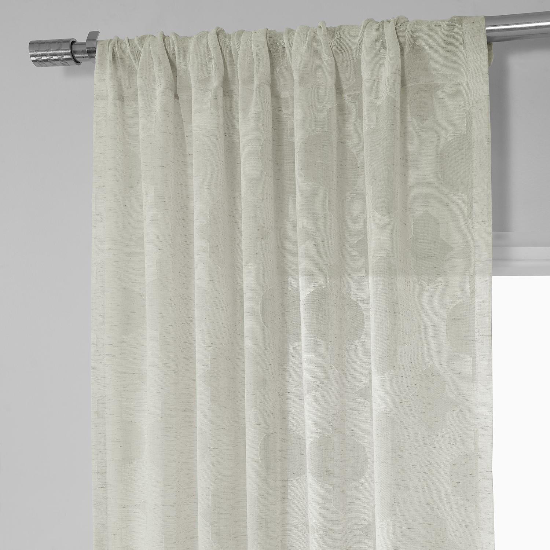 Calais tile patterned faux linen sheer curtain for Patterned sheer curtain panels