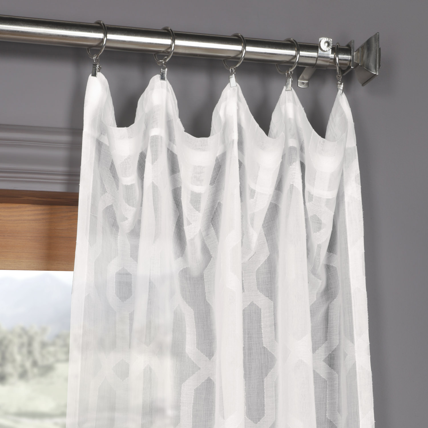 Limoges geo white patterned faux linen sheer curtain for Patterned sheer curtain panels
