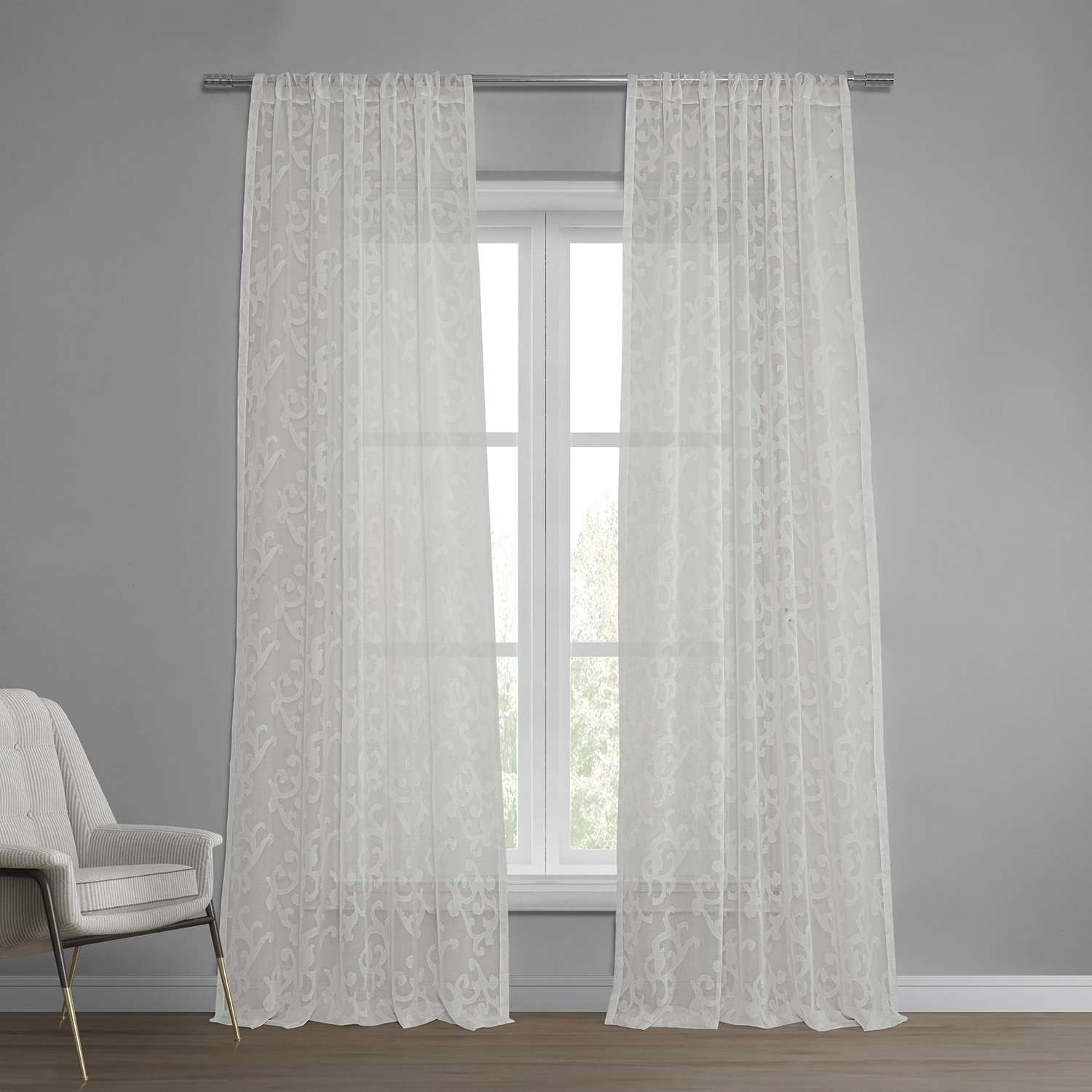 sheer curtains and drapes  half price drapes - paris scroll patterned faux linen sheer curtain