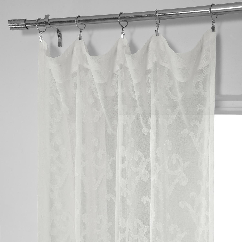 Paris Scroll Patterned Faux Linen Sheer Curtain