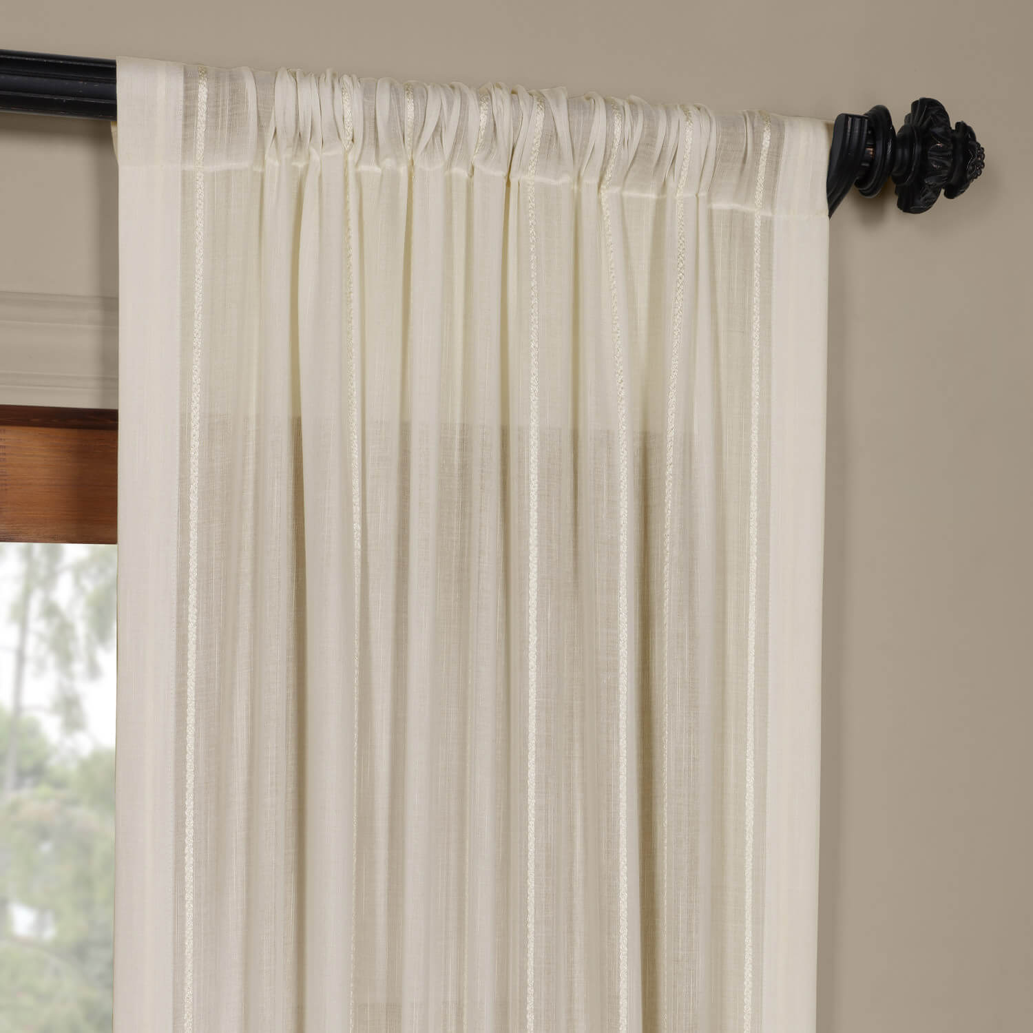 Buy Aruba White Striped Linen Sheer Curtain Drapes