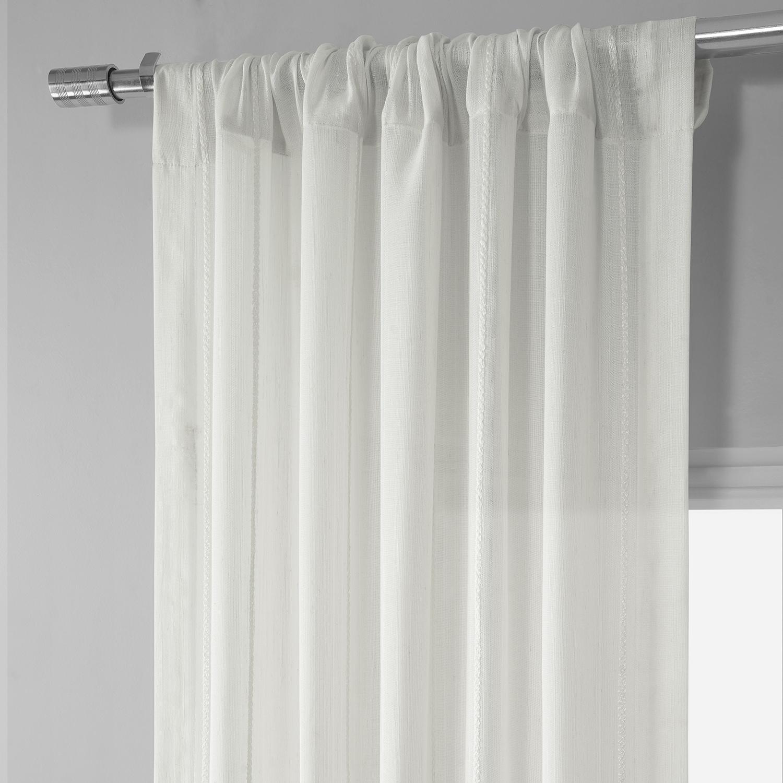 Aruba White Striped Linen Sheer Curtain