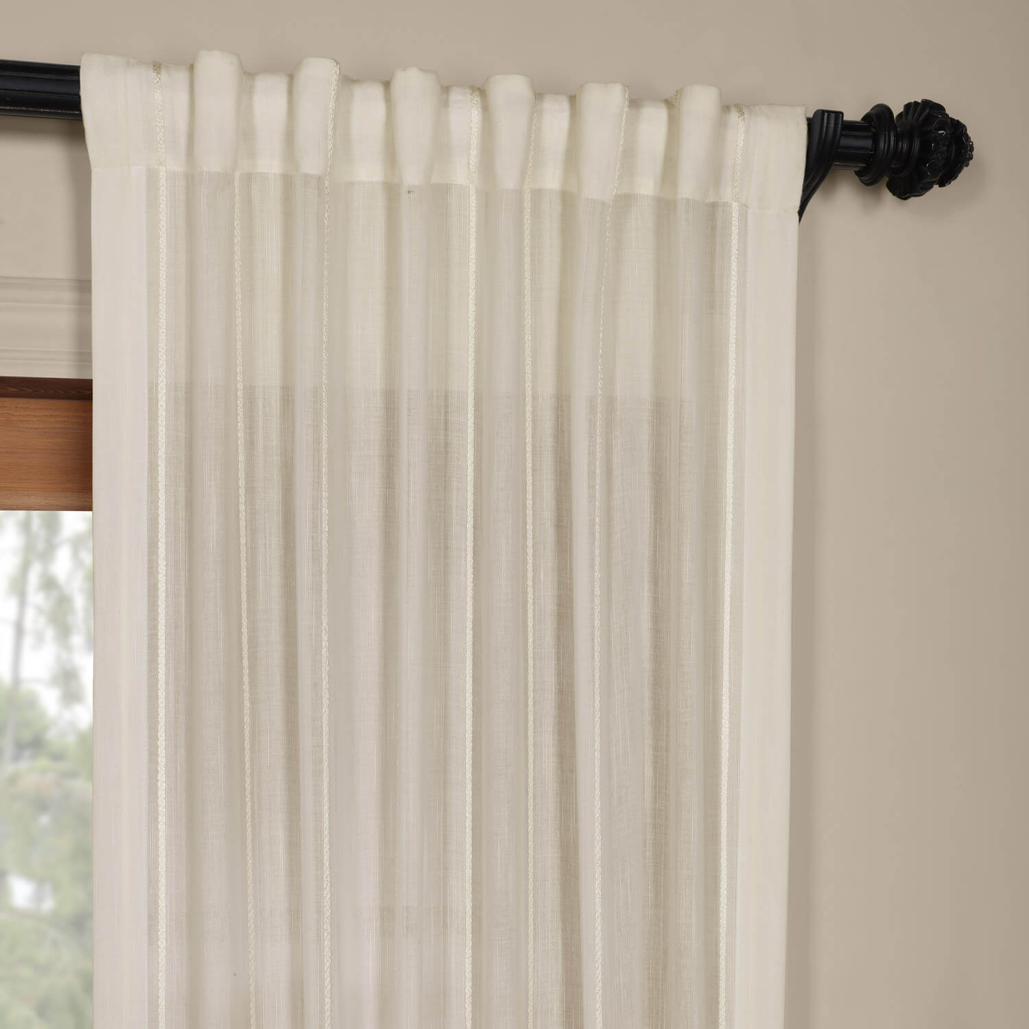 Aruba White Striped Linen Sheer Curtain
