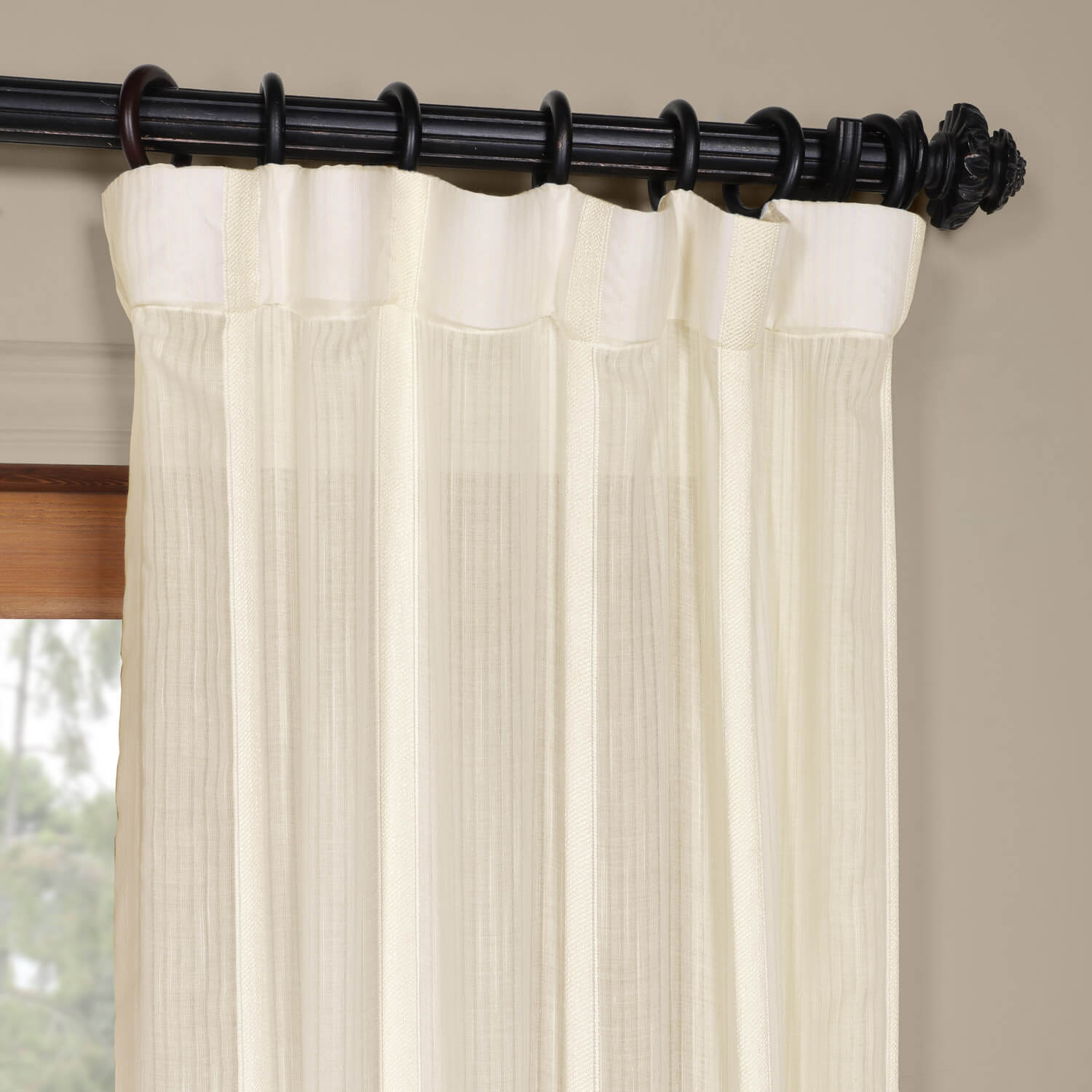 Buy Antigua Off White Striped Linen Sheer Curtain