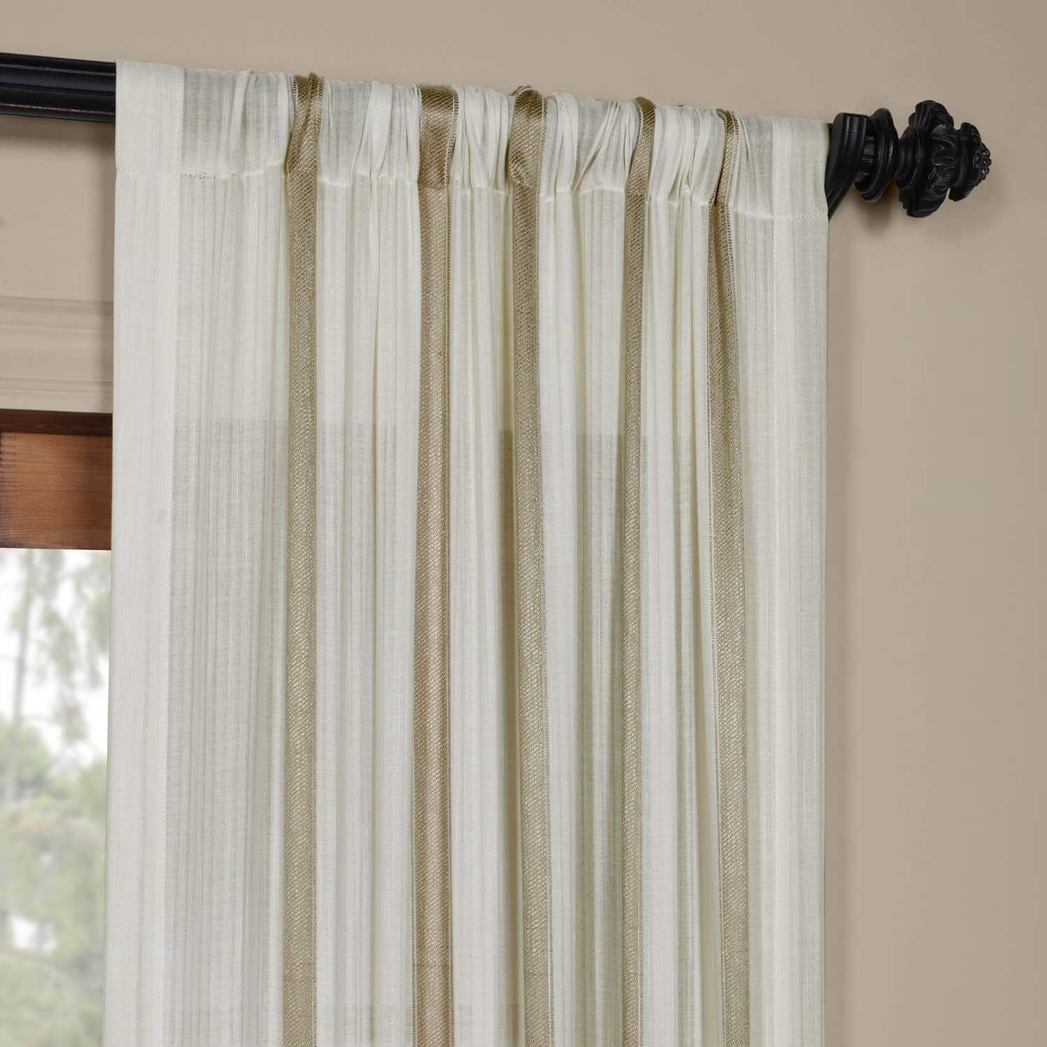 Buy Antigua Gold Striped Linen Sheer Curtain Amp Drapes