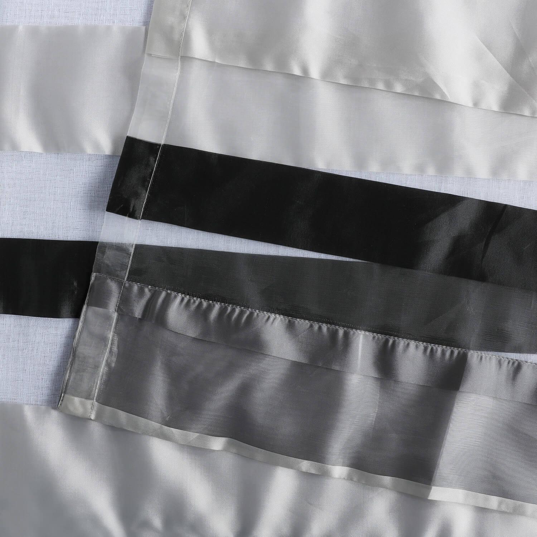 Cloudburst Grey Organza Horizontal Stripe Sheer Curtain