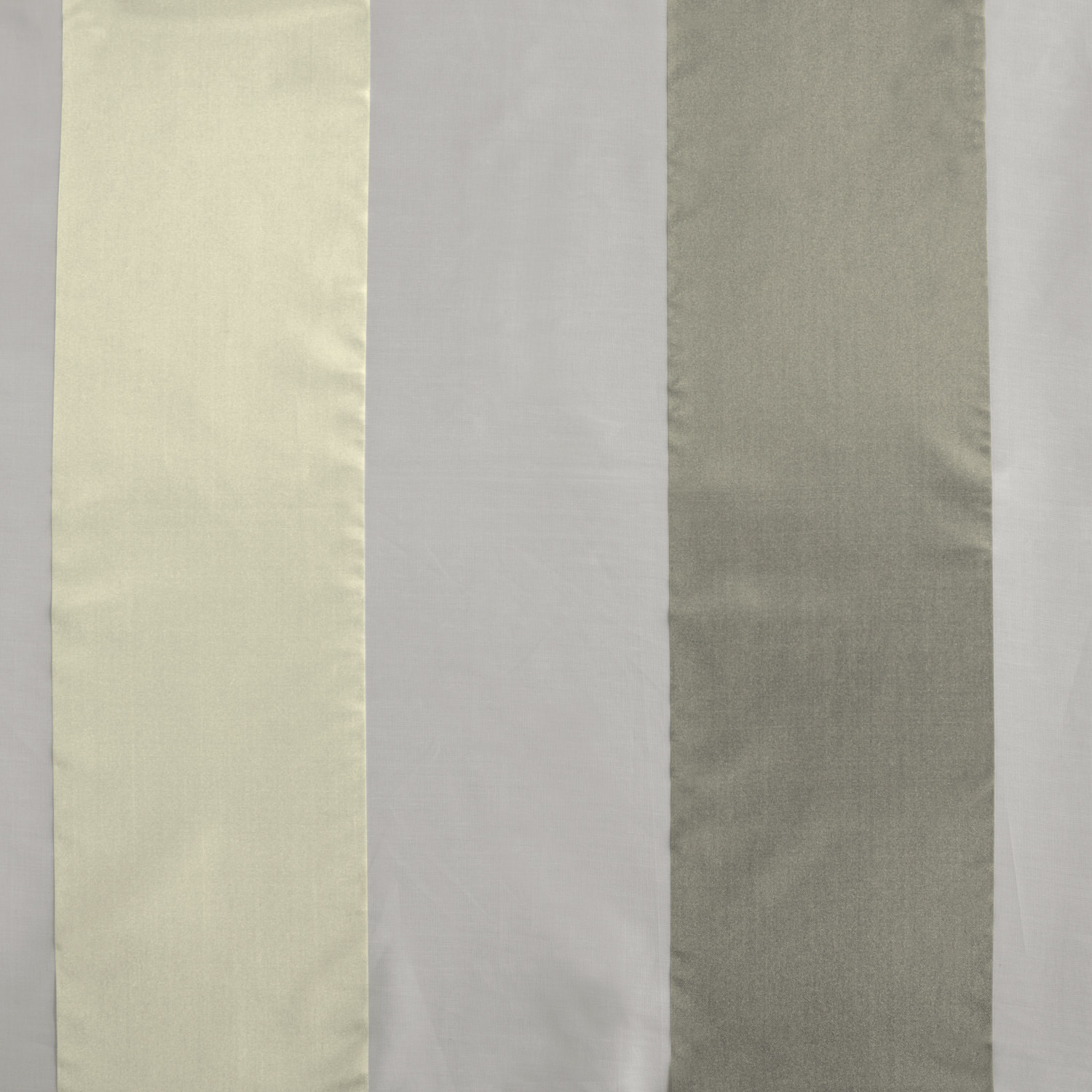 Laquered Silver & White Organza Vertical Stripe Sheer Swatch