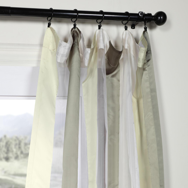 Laquered Silver & White Organza Vertical Stripe Sheer Curtain