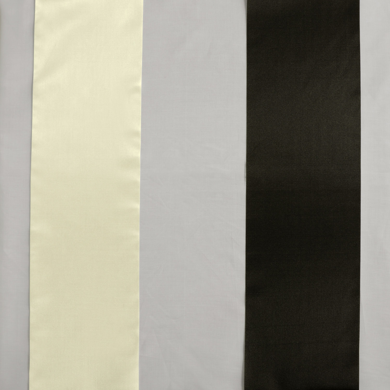 Polished Silver & Black Organza Vertical Stripe Sheer Swatch