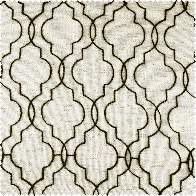Saida Chocolate Embroidered Faux Linen Sheer Fabric